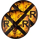 dojune-2 Pack Vintage Railroad Crossing Sign,Distressed 12 Inch Round Metal Wall Décor, Railfan, Train Lover Gifts