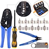 Swpeet 14Pcs Professional Crimping Tool Kit, Ratcheting Wire Terminal Crimper Tool Kit with 1Pcs Cable Stripper and 10pcs 50