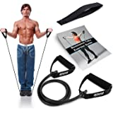 Resistance Band With Handles & Door Anchor   Resistance Tube For Strength Training & Physiotherapy   Free PDF Exercise Guide