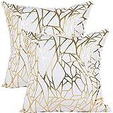 Vinerstar White Sofa Throw Pillow Covers 18 x 18 (45cm x 45cm) Gold Stamping Love Tree Geometric Square Decorative Super Soft