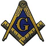 フリーメーソンのロゴ刺繍入りアイロン貼り付け/縫い付けワッペン,黄色と青