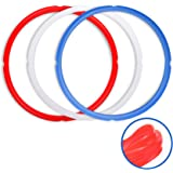 Silicone Sealing Rings for Instant Pot Accessories, Fits 5 or 6 Quart Models, Red, Blue and Common Transparent White, Sweet a