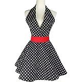 Lovely Retro Apron for Women Super Cute Adjustable Cotton Sexy V-Necked Polka Dot Classic Marilyn Monroe Big Wave Skirt Black