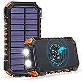 【最新版10Wワイヤレス急速充電&ソーラーモバイルバッテリー】FEELLE ソーラーチャージャー モバイルバッテリー 26800mAh大容量 ソーラーモバイルバッテリー PD18W急速充電 3つ出力ポート 四台同時充電 Type-Cケーブル付き 高輝