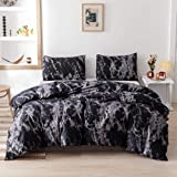 Smoofy Queen Comforter Set, Black Marble Pattern Printed Bed Comforter, Soft Fabric with Brushed Microfiber Fill Bedding(1 Co