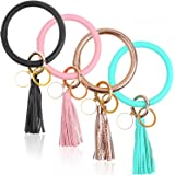 Key Ring Bracelet for Women, Flasoo 4Pcs Wristlet Keychain Bracelet Round Key Chain Wrist Large Circle Leather Tassel Bracele