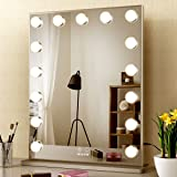 BEAUTME Hollywood Vanity Mirror, Lighted Makeup Mirror with 15pcs Led Lights,Tabletop or Wall Mounted Dressing Illuminated Be