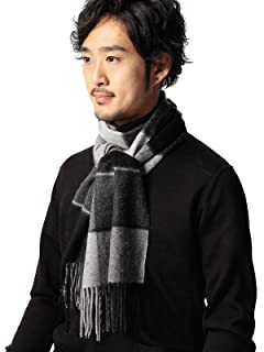 Block Check Cashmere Scarf 11-45-0424-544: Grey / Charcoal / Black