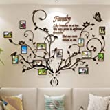 DecorSmart Antlers Family Tree Picture Frame Collage Removable 3D DIY Acrylic Wall Decor Stickers for Living Room with Deer H