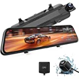 """WOLFBOX 2.5K Mirror Dash Cam for Car, 10"""" Full Touch Screen Rear View Mirror Camera with Waterproof Backup Camera, Dual Dash"""