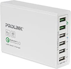 PROLiNK PDC66001-WGRY 6-Port 60W Smart Charger with IntelliSense/with Cord / 2x QC3.0 / 4x USB/LED/White Grey