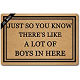ZSL Welcome Mat Funny Doormats Anti Slip Mat for Entrance Way JUST SO You Know There's Like A LOT of Boys in HERE Indoor Outd