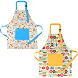 SOTOGO 2 Pack Child Apron Kids Painting Art Apron Cotton Apron for Toddlers Age 6-12, Blue and Yellow, Small