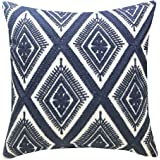 (Navy Eyes(one Piece)) - SLOW COW Cotton Embroidery Pillows Decorative Throw Pillows, Geometric Invisible Zipper Pillow Cover
