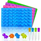 Palksky Mini Dinosaur Silicone Candy molds/Dragon Gummy Bear Mold, Non-Stick Gummie Chocolate Gelatin Tray (4-Pack+4 Droppers