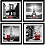 ENGLANT 4 Pieces Framed Canvas Wall Art, Black White and Red Wall Decor Landscape Poster with Eiffel Tower, Brooklyn Bridge,