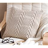 "Decorative Cotton Knitted Pillow Case Cushion Cover Double-Cable Warm Throw Pillow Covers for Bed Couch 18"" X 18"" (Cover Only"