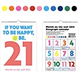 """2021 Calendar 12 Months Wall-mounted Calendar 2021 10"""" x 16"""" Jan 2021 -Dec 2021 Flexible with Stylish Colorful Monthly Calend"""