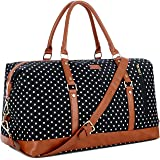 BAOSHA HB-14 Canvas Travel Tote Duffel Bag Carry on Weekender Overnight Bag Oversized for Women and Ladies (Black Dot)