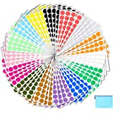 """Pack of 2400 3/4"""" Round Color Coding Circle Dot Sticker Labels - 15 Assorted Colors, Bonus A5 Zipper File Bag Included for Ea"""