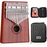Gecko Kalimba Mbira Sanza 17 Keys Thumb Piano with Kalimba Box and Musical Notation(Solid Mahogany Wood)