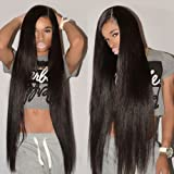 CYNOSURE Straight Brazilian Hair 3 Bundles Grade 8a Unprocessed Straight Human Hair Extensions Natural Black (10 12 12 inches