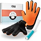 KCT Pet Care Grooming Glove Set - for Cats, Dogs and Other Animals - Bonus Reusable Lint Roller Included - 260 Silicone Tips
