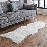 LEEVAN Sheepskin Rug Faux Fur Rug Super Soft Fluffy Chair Cover Seat Cover Shaggy Floor Mat Carpet (2' x 5', White)