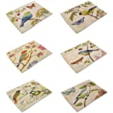 HACASO Set of 6 Vintage Style The Painting Bird Pattern Dining Table Mats Cotton Linen Placemats