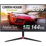 グリーンハウス ゲーミングモニター 23.8インチ 144Hz 1ms Adaptive-Sync 高さ調整 回転 HDMIx2 DPx1 3年保証 GH-ELCG238A-BK2