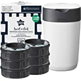 Tommee Tippee Twist and Click Advanced Nappy Bin Starter Set, Eco-Friendlier System with 6X Refill Cassettes with Sustainably