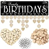 Acoavo Family Birthday Board DIY Wooden Calendar Wall Hanging Birthday Reminder Plaque,with 100 Wooden Tags,Great Mom Grandma