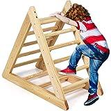 Costzon Kids Climbing Pikler Triangle Ladder, Wooden Triangle Climber with Climbing Ladder for Toddlers, Indoor Playful Climb