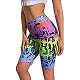 Milumia Women Athletic Tie Dye Biker Shorts Skinny Exercise Yoga Leggings