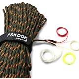 PSKOOK Survival Paracord Parachute Cord Reflective Survival Rope with Tinder Fire Starter PE Fishing Line Outdoor 50, 100 Fee