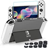 BRHE Switch OLED Clear Case, Ultra-Slim Dockable Hard PC Cover Protective Shell Accessories Kits with Glass Screen Protector/