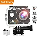 Action Camera WeyTy X6S 4K 30m Underwater Camera 16MP WiFi Sport Camera 170°Wide Angle Waterproof Camera with 2x1350 mAh...