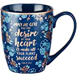 "Blue Bible Verse Mug – Floral Faith Mug for Women & Men, Ceramic Coffee Mug w/Gold Trim & Psalm 20:4 Calligraphy – ""The Desir"