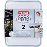 Pyrex Cook and Freeze Rectangular Glass Dish Set with BPA-Free Plastic lids (Set of 2), 1.5L & 2.6L