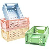 POTTIIS 4-Pack Mini Baskets Plastic for Shelf Home Kitchen Storage Bin Organizer, Stacking Folding Storage Baskets for Classr