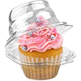 Stock Your Home Individual Plastic Cupcake Containers (100 Count) Single Cupcake Containers Plastic Disposable - Mini Fluted