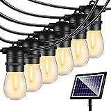 48FT Solar String Lights Outdoor - Shatterproof Vintage Edison Bulbs & 4 Light Mode Weatherproof Strand -LED String Lights So