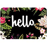 """ZBLX Hello Flowers Doormat Entrance Mat Floor Mat Rug Indoor/Outdoor/Front Door/Bathroom Mats Rubber Non Slip(30""""x18"""",45cmx75"""