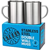 Stainless Steel Double Walled Mugs: 100% BPA Free,15 oz Metal Coffee & Tea Cup Mug - Insulated Cups with Handles Keep Drinks