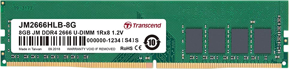 Transcend デスクトップPC用メモリ PC4-21300 (DDR4-2666) 8GB 288pin U-DIMM 1.2V 1Rx8 (1024Mx8) CL19 JM2666HLB-8G