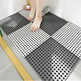 10PCS Interlocking Rubber Floor Tiles with Drain Holes DIY Size Bathroom Shower Toilet Non-Slip Floor Tiles Mat Interlocking