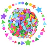 Olgaa 1300 Pieces Foam Stickers Geometry Self-Adhesive Stickers Assorted Colors Mini Geometry Shapes Foam Stickers(Circle, Sq