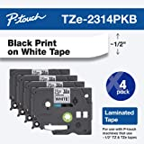 """Brother Genuine P-touch, TZe-231 4 Pack Tape (TZE2314PKB) ½""""(0.47"""") x 26.2 ft. (8m) 4-Pack Laminated P-Touch Tape, Black on W"""