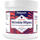 Petpost | Bulldog Wrinkle Wipes for Dogs - Cleans and Soothes Pug Wrinkles and Folds - 100 Ultra Soft Cotton Pads in Coconut