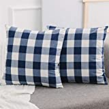 NATUS WEAVER 2 Pcs Navy White Buffalo Checkers Plaids Linen Square Throw Pillow Cover Decorative Cushion Shams Pillowcase for